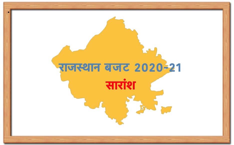 राजस्थान बजट 2020-21 के प्रमुख बिन्दु